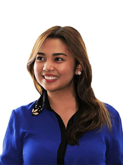 Woman in dark blue shirt smiling